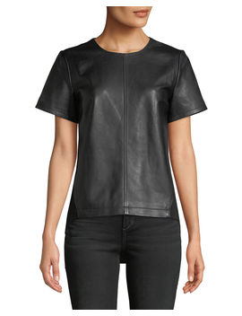 Lamb Leather & Ponte Back Top by Neiman Marcus Leather Collection