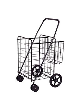 Goplus Folding Shopping Cart Jumbo Double Basket Perfect For Grocery Laundry Book Luggage Travel W/Swivel Wheels (Black L) by Goplus