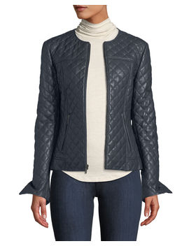 Quilted Short Leather Moto Jacket W/ Stud Trim by Neiman Marcus Leather Collection