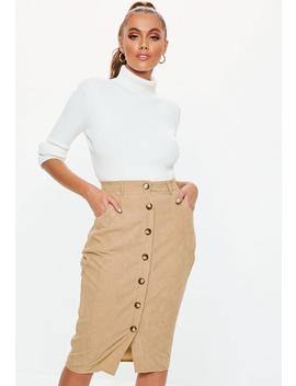 Stone Cord Button Detail Midi Skirt by Missguided