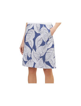 Hobbs Loretta Leaf Print Skirt, Navy/White by Hobbs