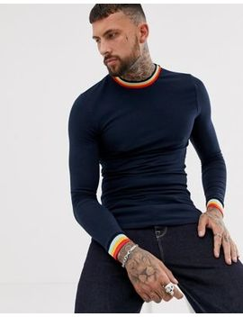 Asos Design Muscle Fit Longline Long Sleeve T Shirt With Rainbow Tipping In Navy by Asos Design