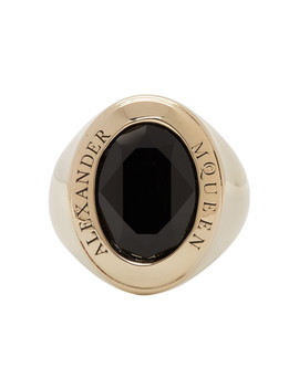 Gold & Black Jewelled Logo Ring by Alexander Mcqueen