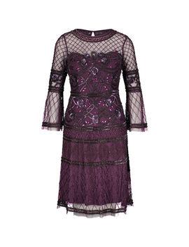 Purple Mesh Embellished Dress by Aidan Mattox