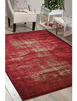 """Nourison Karma (Krm01) Red Rectangle Area Rug, 5 Feet 3 Inches By 7 Feet 4 Inches (5'3"""" X 7'4"""") by Nourison"""