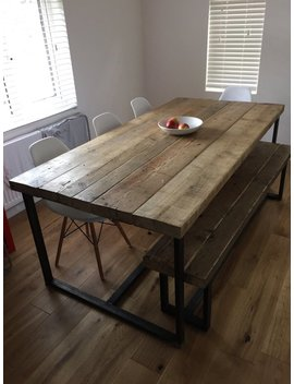Reclaimed Industrial Chic 6 8 Seater Dining Table   Bar Cafe Restaurant Furniture Steel Solid Wood Metal Made To Measure 039 by Etsy