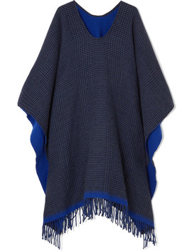 Fringed Checked Wool Blend Poncho by Rag & Bone