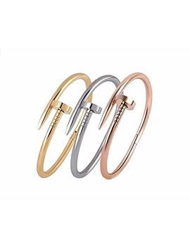 Bazaar E Stainless Steel Bracelet Silver/Rose/Yellow/Women Jewelry Nail Screw Cuff Bangle by Plain Nail