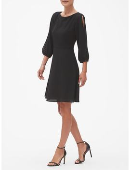 Split Sleeve Fit And Flare Dress by Banana Republic Factory