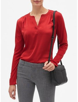 Ladder Trim Pleated Shoulder Top by Banana Republic Factory