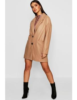 Oversized Boyfriend Wool Look Coat by Boohoo