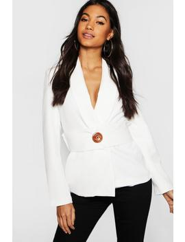 Oversized Belt Detail Blazer by Boohoo