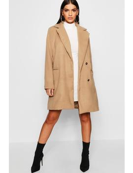 Military Button Through Wool Look Coat by Boohoo