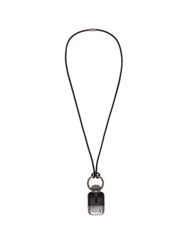 Black & Silver Flask Necklace by Saint Laurent