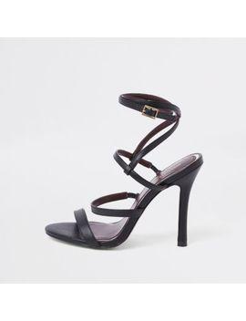 Black Strappy Skinny Heel Sandals by River Island