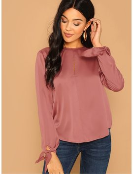 Keyhole Back Solid Top by Shein