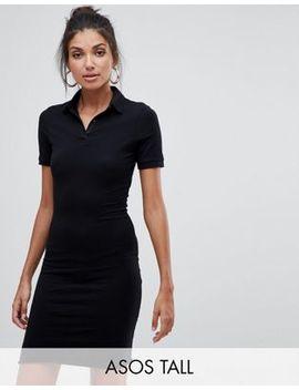 Asos Design Tall – Kurzes Polohemdkleid Mit Gerolltem Saum by Asos