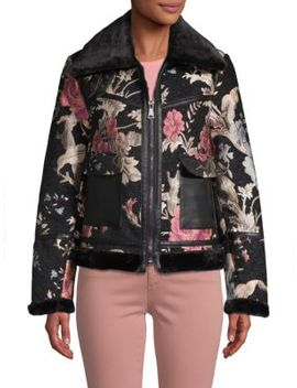 Faux Fur Trimmed Floral Embroidered Jacket by Bagatelle Nyc