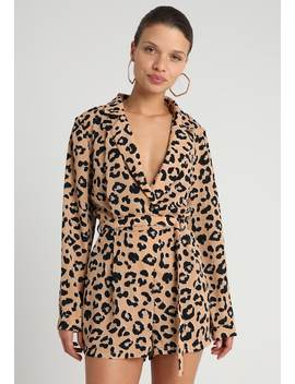 Leopard Pint Tailored Long Sleeve    Jumpsuit by Missguided Petite