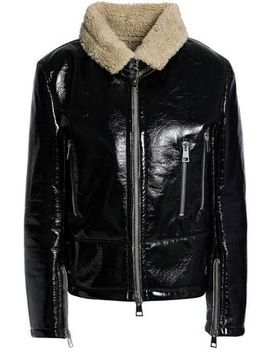 Faux Shearling Trimmed Vinyl Jacket by Ainea
