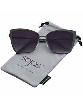 Sojos Cateye Sunglasses For Women Fashion Mirrored Lens Metal Frame Sj1086 by Sojos