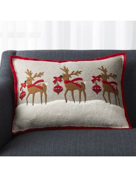 "Holiday Reindeer Pillow 22""X15"" by Crate&Barrel"