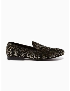Gold And Black 'boa' Brocade Loafers by Topman