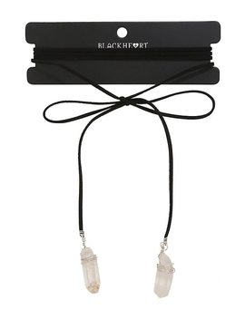 Blackheart Raw Crystal Black Suede Wrap Choker by Hot Topic