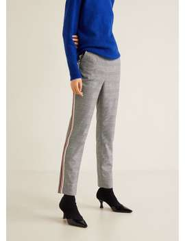Contrasting Trims Checked Trousers by Mango