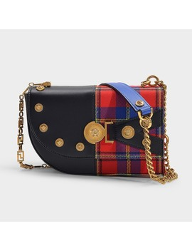 Clash Tartan Print Small Bag In Multicolor Calfskin by Versace