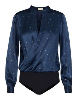 Marcella Wrap Effect Printed Silk Satin Bodysuit by L'agence