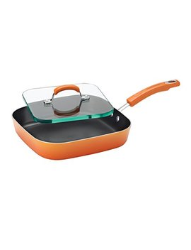 Rachael Ray Porcelain Enamel Ii Nonstick Square Deep Griddle And Glass Press, 11 Inch, Orange Gradient by Rachael Ray