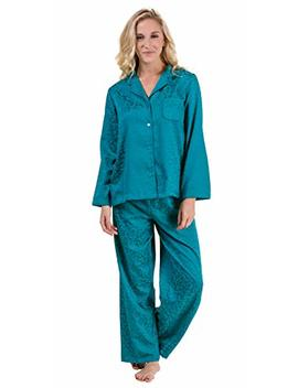 Miss Elaine Brushed Back Satin Pajamas   Long Sleeve P Js In Teal Leaves by Miss Elaine
