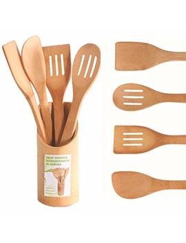 5 Piece Bamboo Kitchen Cooking Utensils Set Tools Spatula Spoon Turner by Hblife