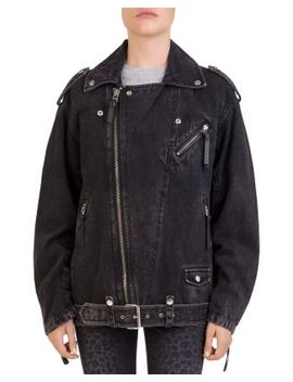 Beaded Denim Moto Jacket by The Kooples