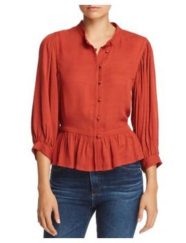 Embroidered Trim Peplum Top by Frame