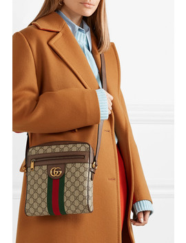 Ophidia Small Textured Leather Trimmed Printed Coated Canvas Shoulder Bag by Gucci