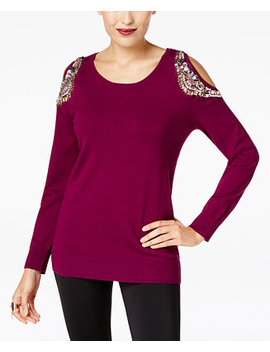 Embellished Cold Shoulder Sweater, Created For Macy's by Thalia Sodi