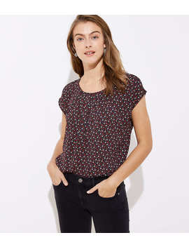 Floral Pleated Mixed Media Top by Loft