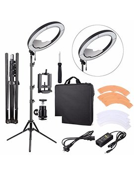 "Eachshot Es240 Kit, Including Light, Stand, Mirror, Bag, Bracket} 18"" 5500 K Dimmable Led Ring Light With 2 Color Diffuser For Makeup, Portrait Photography, Selfie, Camera Smartphone Youtube by Eachshot"