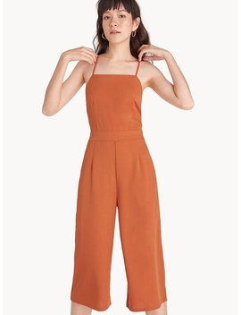 Spaghetti Strap Cross Back Jumpsuit   Orange by Pomelo