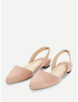 Pointed Toe Suede Slingback Flats by Shein