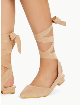 Pointed Toe Tie Leg Flats by Shein