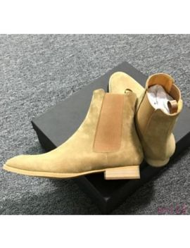 Mens Ankle Boot Chelsea Pull  On Chic Real Leather Pull On Suede Round Toe Shoes by Ebay Seller