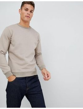 Celio Brushed Cotton Crew Neck Sweat In Beige by Celio