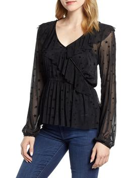 X Glam Squad Mesh Ruffle Faux Wrap Top by Gibson