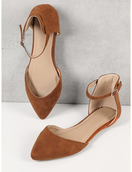 Pointed Toe Ankle Strap Flats by Shein