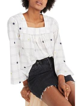 Embroidered Windowpane Square Neck Button Down Top by Madewell