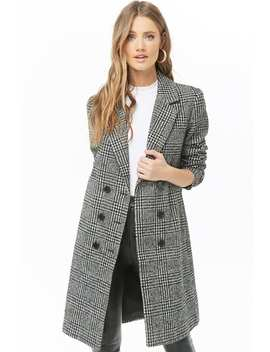 Glen Plaid Double Breasted Peacoat by Forever 21