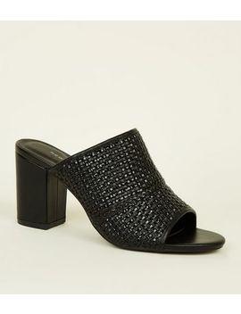 Black Woven Block Heel Mules by New Look